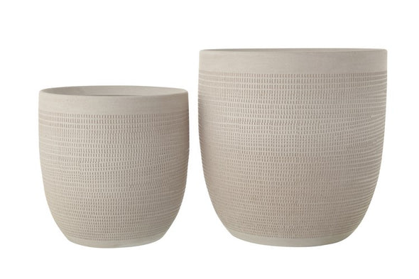 Embossed Textured Stoneware Planter