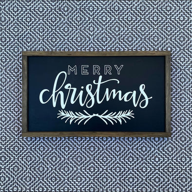Merry Christmas Modern Script Handpainted Sign