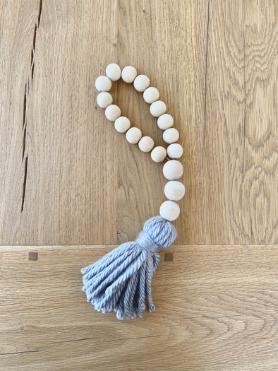 Wood Bead Loop Garland with Tassel