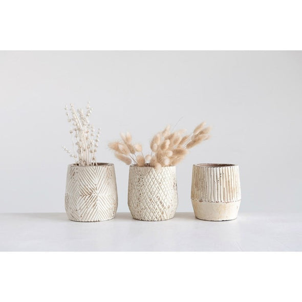 "5"" Round x 5""H Hand-Carved Mango Wood Planter, Antique White Finish, 3 Styles (Holds 4"" Pot)"