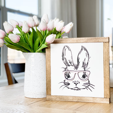Bunny with Glasses Handcrafted Spring Sign