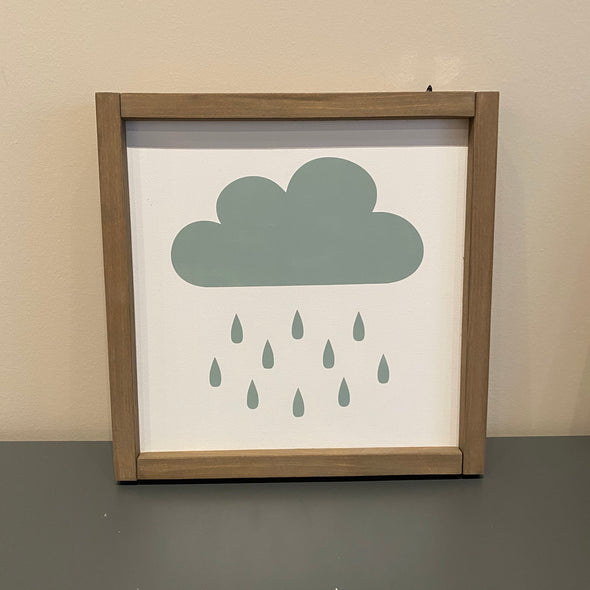 Rainy Cloud Handcrafted Wall Sign