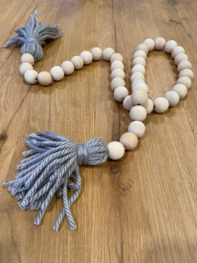 Wood Bead Garland with Tassels