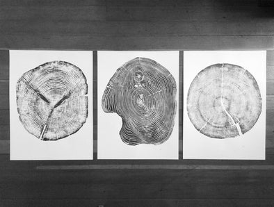 Wood Cut Triptych, Set of 3 Art Prints, 18x24 each