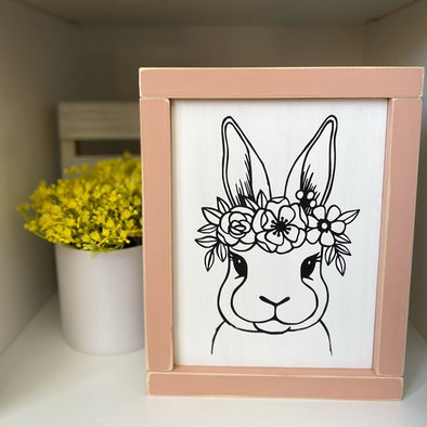 Pink Floral Bunny Handpainted Sign