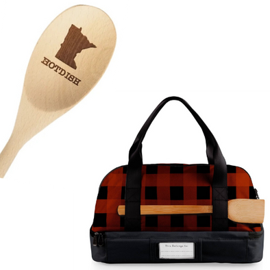 Hotdish Gift Set: tote and MN hotdish wooden spoon
