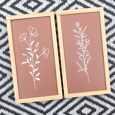 Botanical Outline Handpainted Signs