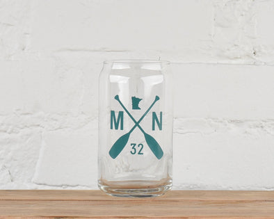 Beer Pint Glass, MN Paddle Design, Can Shape
