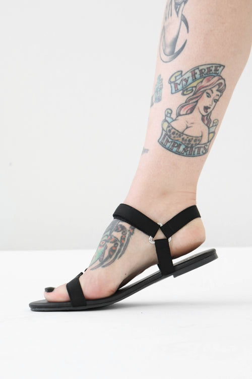 Black Lycra Easy Sandals - LAST ONE SIZE 5.5