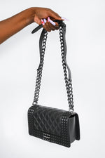 PVC Studded All Black Handbag