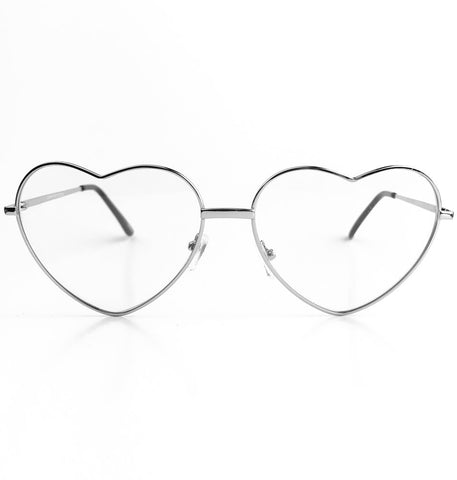 Lindsay Clear Heart Glasses - Silver
