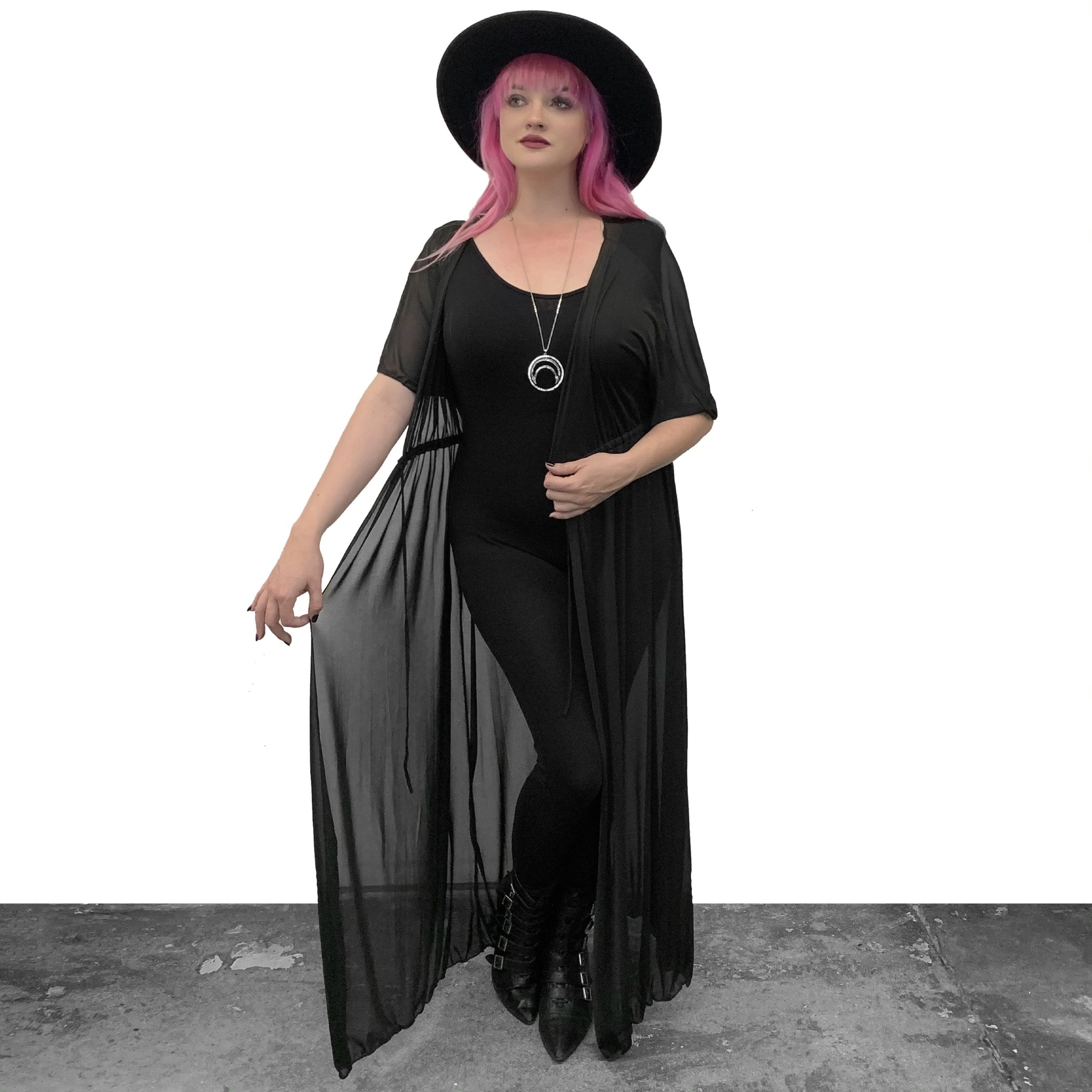 Mesh Tie Front Coverup (S-XL)