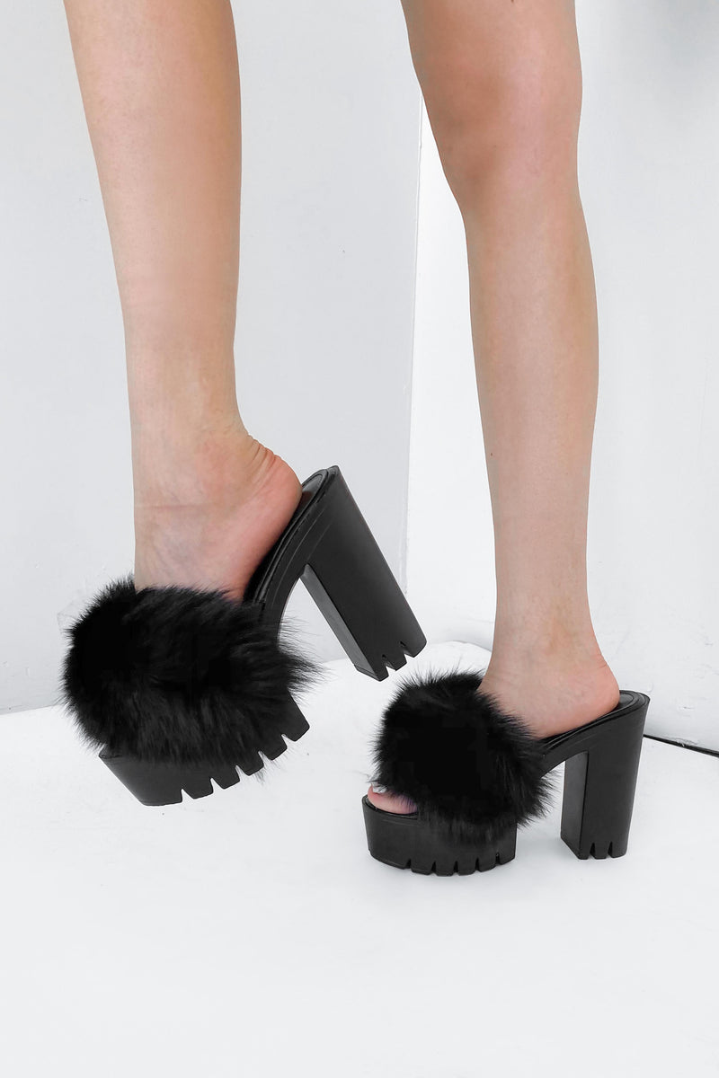Bianca Faux Fur Platform Mule - sizes 9/10 left !