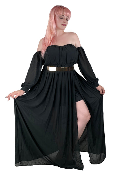 Night Shadows Off the Shoulder Maxi - only small left !