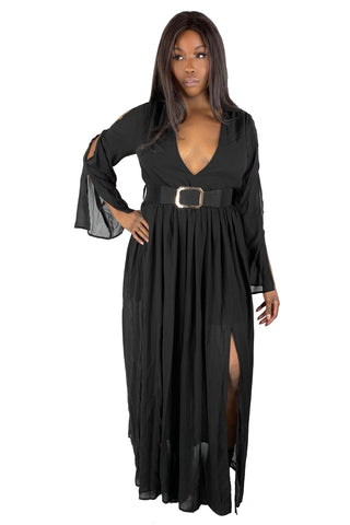 Mrs. Addams Belted Maxi (S-3XL)