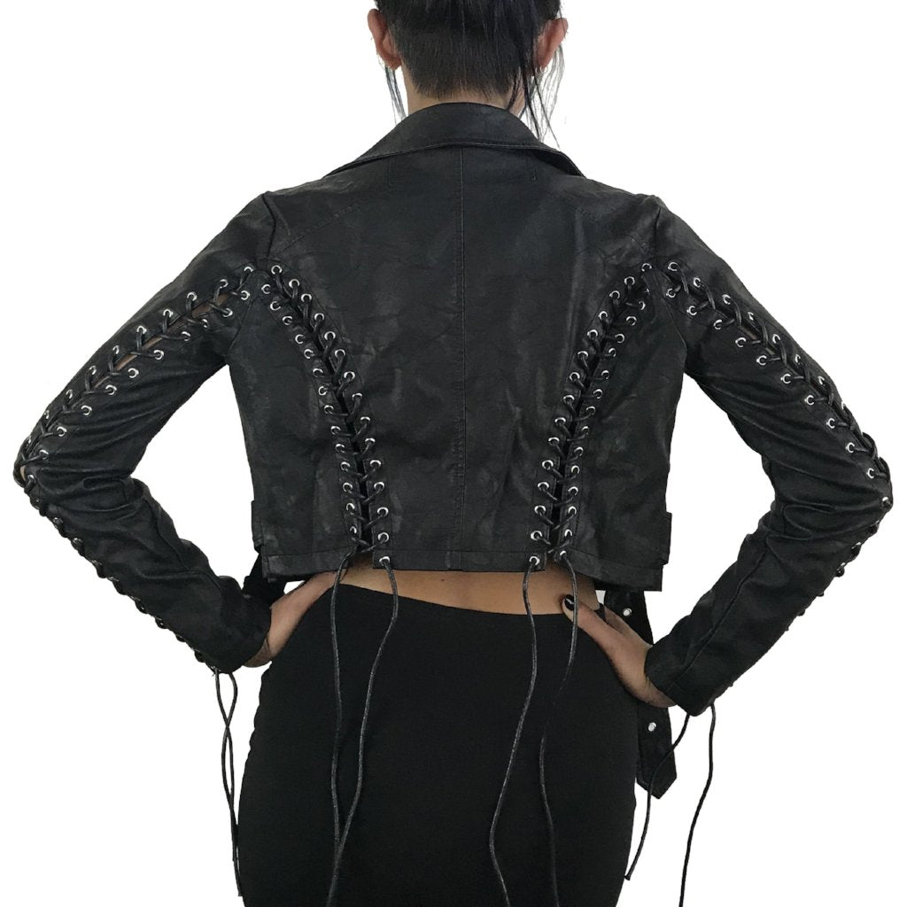 Corset Vegan Leather Motorcycle Jacket