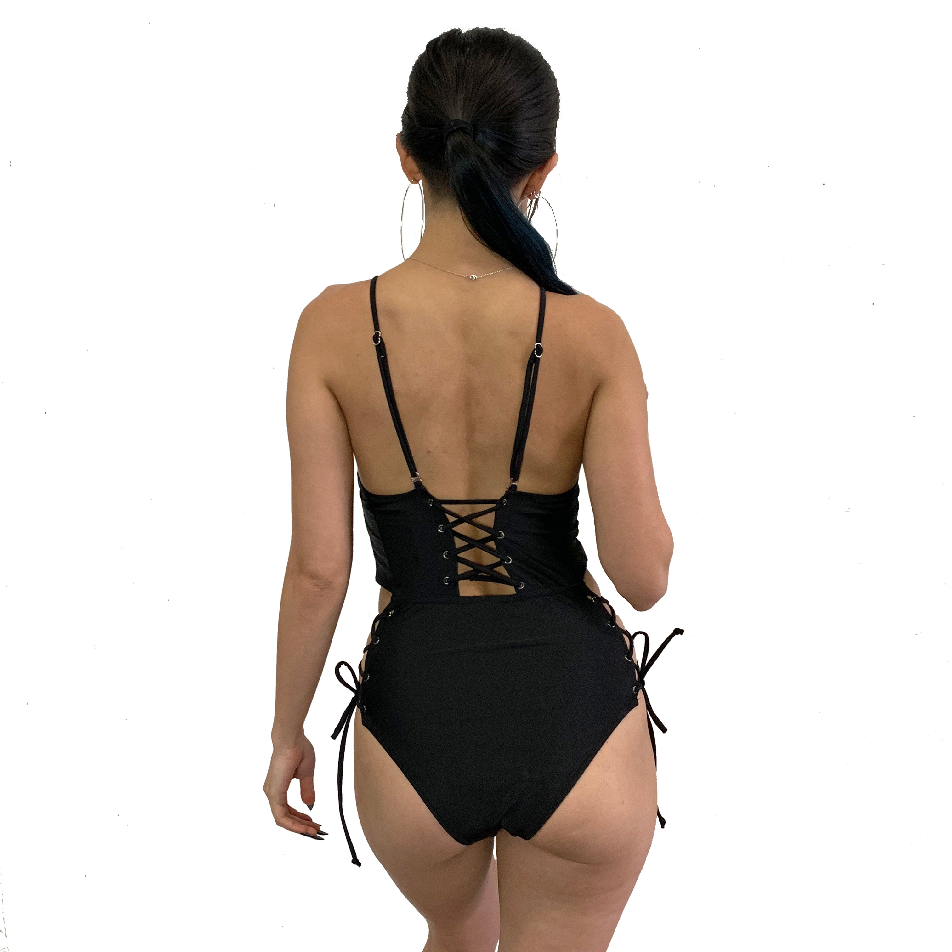 Lace You Up All Black One Piece