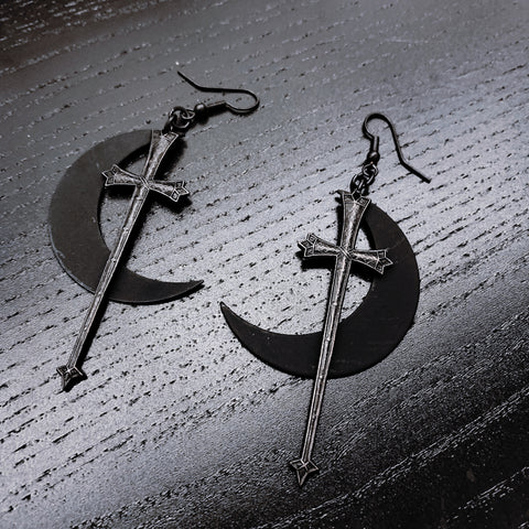 Rhiannon Black Moon and Sword Earrings