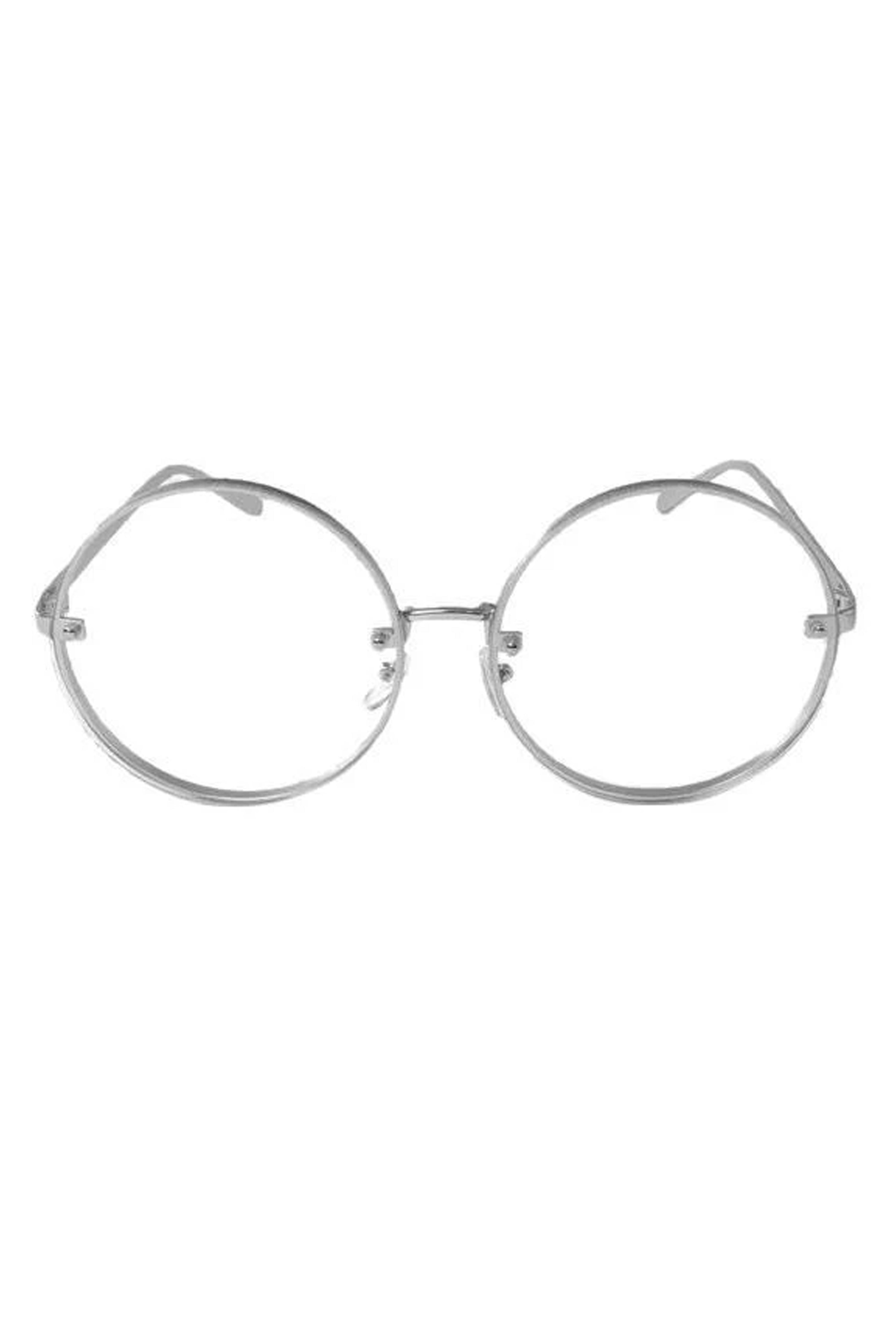 Bey Large Round Wire Sunglasses - Silver