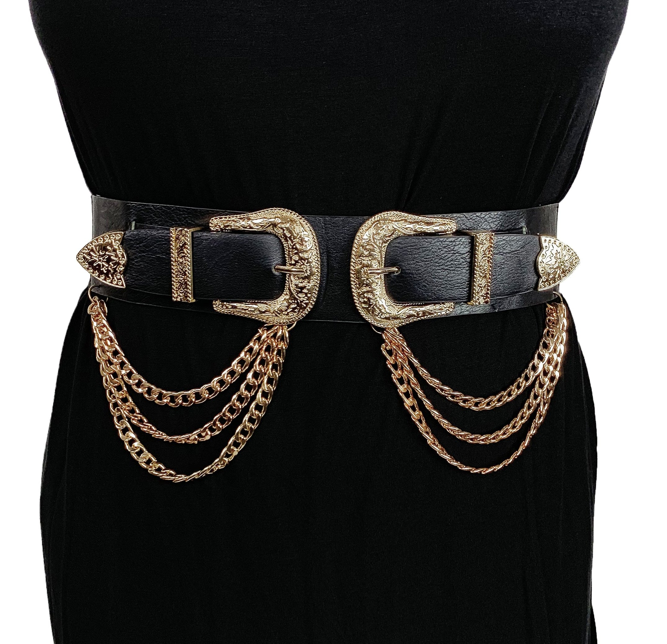 Double Trouble With Chains- Vegan Leather (Gold)