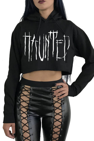 HAUNTED Crop Hoodie