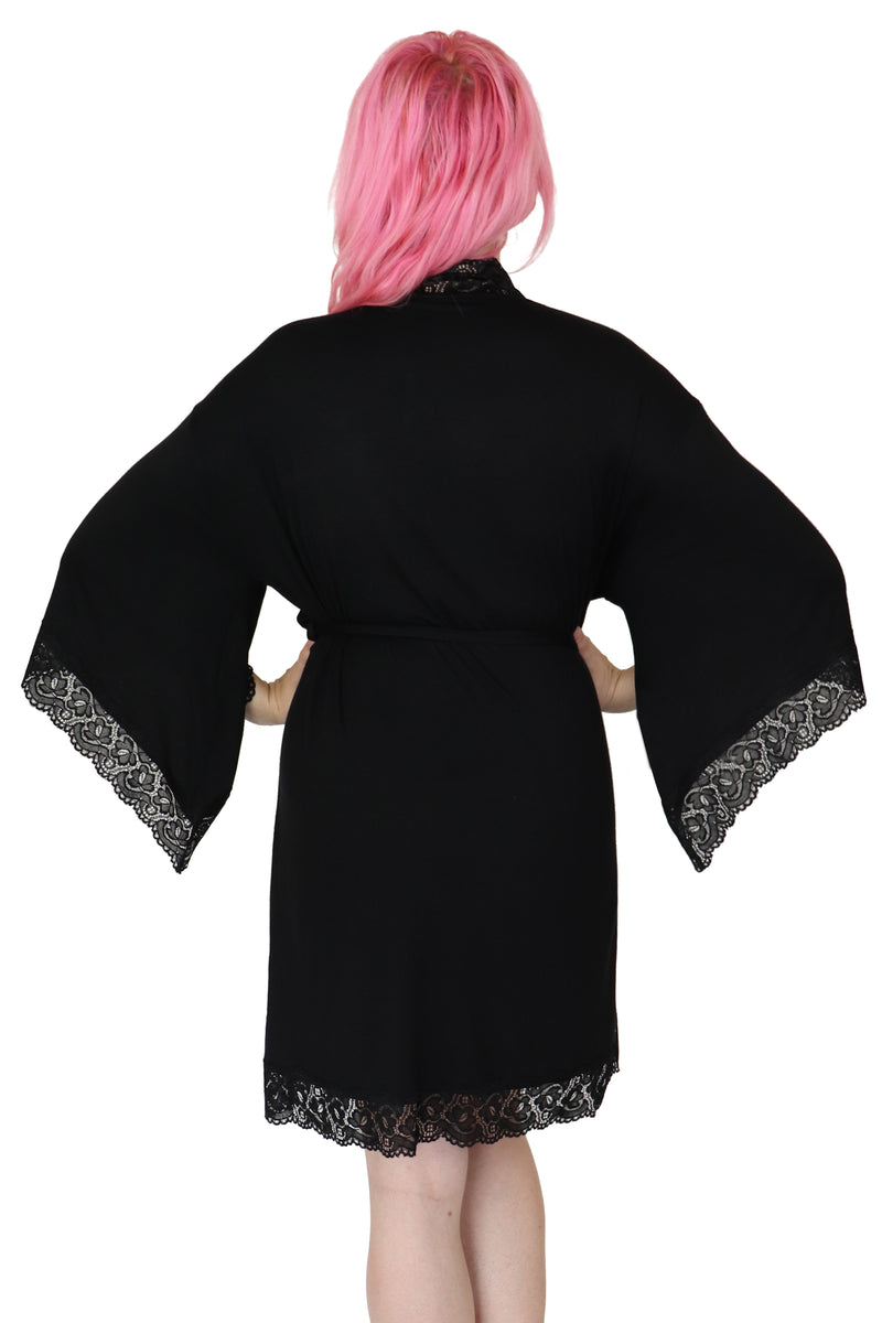Short Bathory Dressing Robe - Black