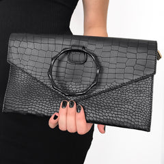 Morticia Faux Leather Clutch with detachable strap (2 left!!!)