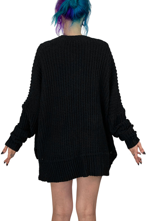 Goth Grandpa Oversized Sweater with pockets- black