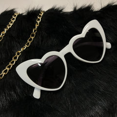 Cateye Heart Sunglasses - White