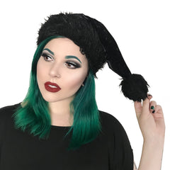 Santa's Goth Little Helper Hat - All Black