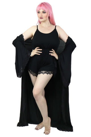 Black Bathory Dressing Robe and Sleep Romper Set