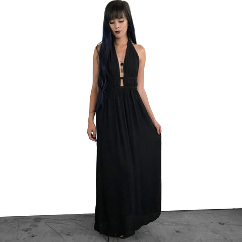 Black Garden Maxi Halter Dress