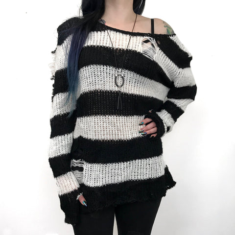 Shreddy Freddy Tunic Sweater - White / Black  BACK IN STOCK!