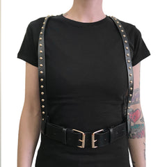 Faux Leather Studded Suspender Harness