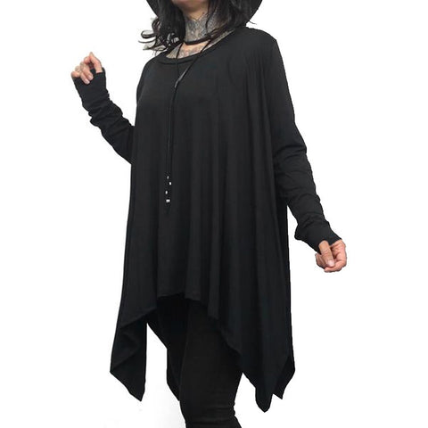 Long Sleeved Flowing Top with Thumbholes