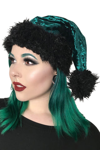 Santa's Goth Little Helper Hat - Emerald Green