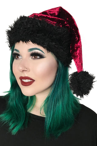 Santa's Goth Little Helper Hat - Deep Red
