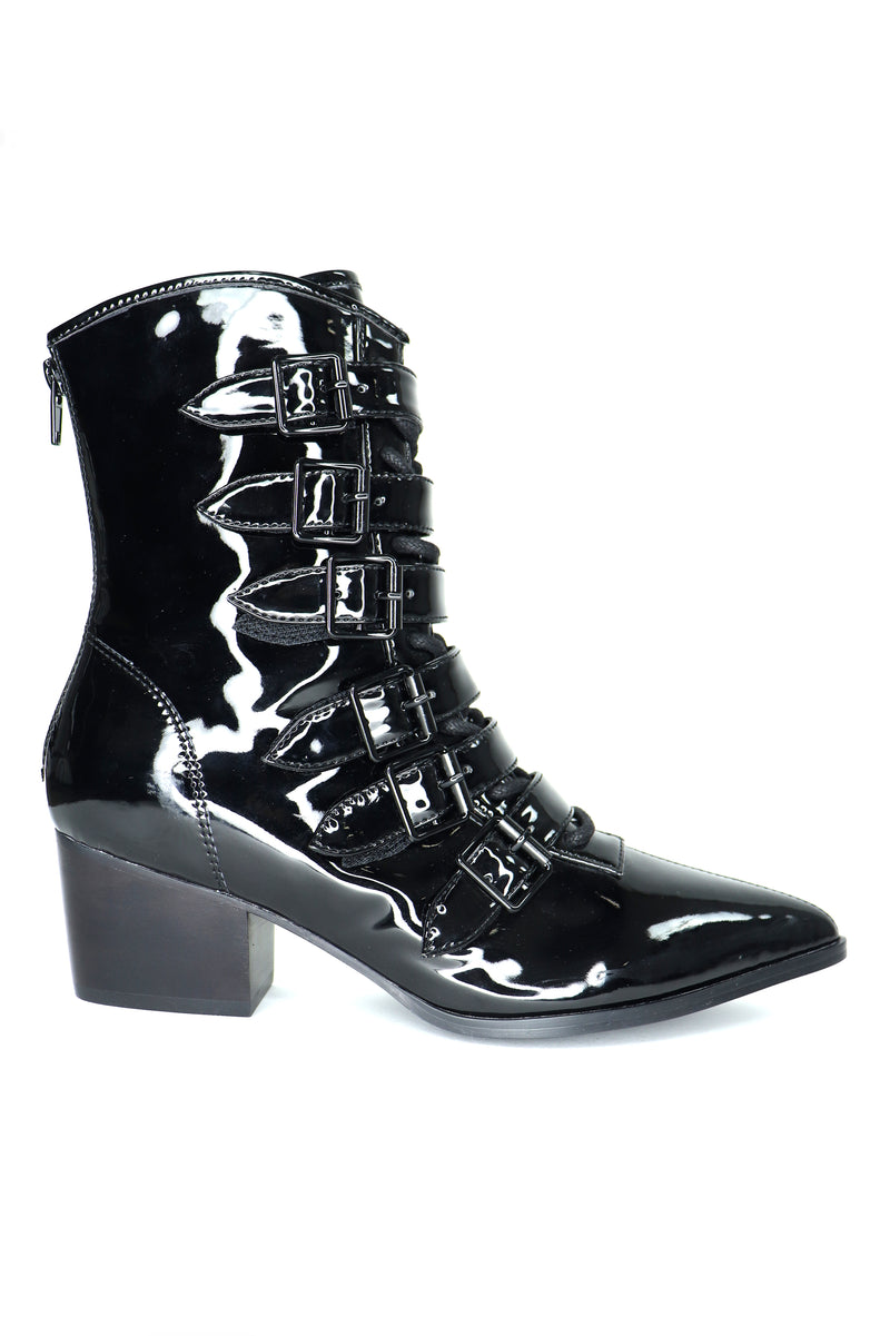 The Coven Boot - Shiny PVC Black - only size 6 left!