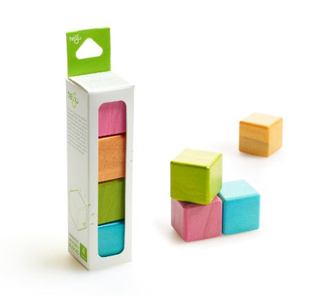 4 Piece Tegu Magnetic Wooden Block Cube Set, Tints