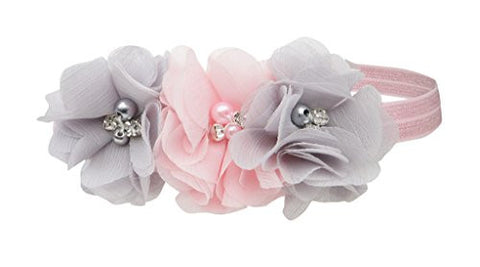 Petals Pink/Grey Headband for Baby Girl with Flower Accents