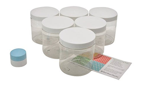 Clear 4 oz Plastic Jars with White Lids (6 pk) with Mini Jar - PET Round Refillable Containers
