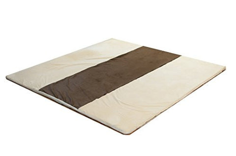 Snug Square Play Mat - Large 55 Ultra-Comfortable, Plush Foam Playmat for Baby, Toddler, and Children with Bonus Carry Case (Cream-Espresso)