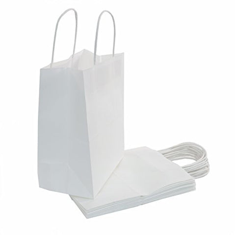 White Kraft Paper Bags with Handles are the Perfect Solution for Baby Shower, Kids Birthday Party Favors(Treats, Goodies & Candy), Boys and Girls Gifts, & Shopping Bulk Set of 100 (8x4.75x10)
