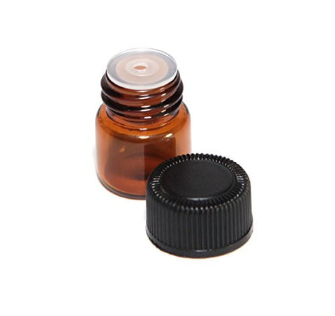 50 Pcs 2ML Amber Glass Bottles Mini Essential Oil Vials Containers with Orifice Reducers and Black Cap for Aromatherapy Reagents Cologne Perfume Samples