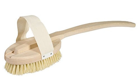 Bürstenhaus Redecker Bath Brush with Removable Untreated Beechwood Handle and Stiff Tampico Fiber Bristles, 18.5-Inch