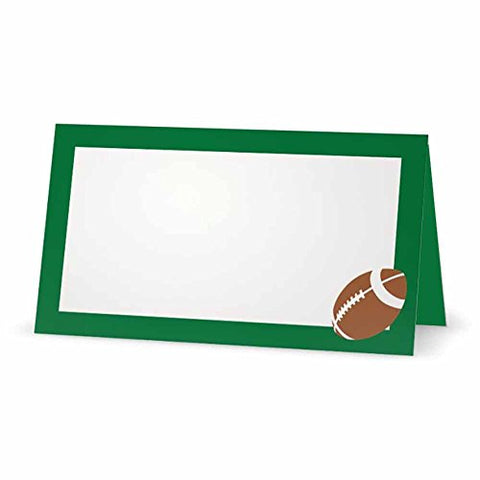 Football on Green Place Cards - TENT STYLE - - White Blank Front Solid Color Border - Placement Table Name Seating Stationery Party Supplies - Occasion Dinner Event