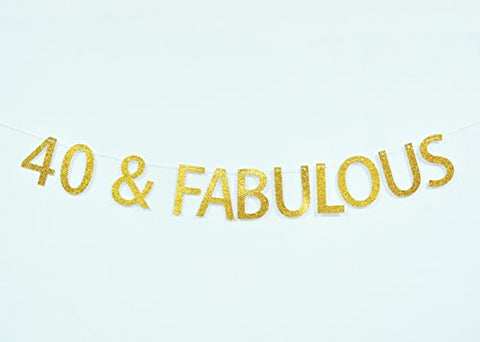 Firefairy 40 And Fabulous Gold Glitter Hanging Sign Banner- 40th Birthday,Anniversary Party Supplies, Ideas and Decorations