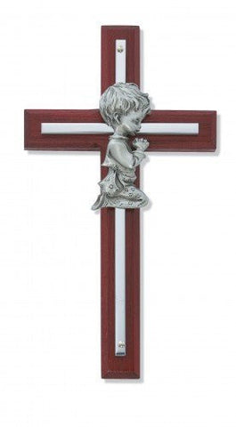 Silver Boy Wall Cross Cherry Stained Wood 6 in Nursery Decor Baby