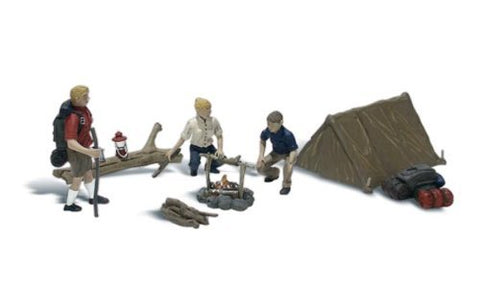 Woodland Scenics HO Scale Scenic Accents Figures/People Set Campers/Tent