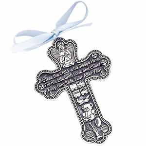 Bless The Child - GUARDIAN ANGEL Baby BOY Crib Cross 4 PEWTER Medal/CHRISTENING/BABY SHOWER GIFT/Baptism KEEPSAKE/with BLUE RIBBON/GIFT BOXED